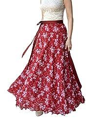 DeeVineeTi Floral Print Women's Wrap Around Skirt, Maroon, FreeSize