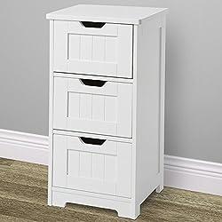 Miadomodo - Cómoda para baño con cajones espaciosos de madera (color blanco) - tamaño S aprox. 30/64/30 cm