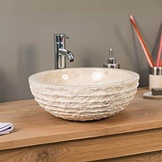 wanda collection Lavabo sobre encimera de mármol Cuarto de baño VESUBIO Crema 40 cm