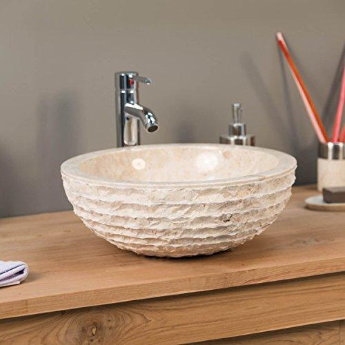 Lavabo encimera de mármol cuarto de baño VESUBIO crema 40 cm