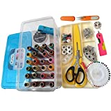 #7: Kurtzy Sewing Kit Includes Needle Threader - Trimmer - Threads - Needles - Bobbin Case - Bobbins - 9