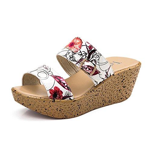 Mode wedges sandales et pantoufles femme été/ gâteau thick-soled Sandals/Un mot pantoufle/Semi-pantoufles/sandale de confort talon haut/Chaussures femme A
