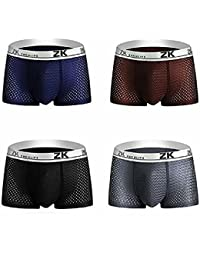 Colleer Ice Silk Mesh Men's Boxer Shorts Pack of 4, Breathable Seamless Mens Underwear Set Soft Trunks Underpants