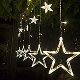 Cadena de luces LED de colores Salcar de 2 * 1 metros, cortina 12 estrellas de colores...