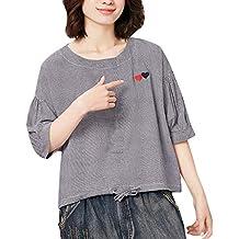 Geilisungren Camisetas Manga Corta de Vintage para Mujer Cuello Redondo Blusas Elegantes Fiesta Sencillo Tops Casual