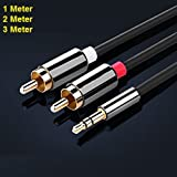 REALMAX® 1M 2M 3M Meter Stereo 3.5mm Jack Plug to TWIN 2 x RCA PHONO Audio Lead GOLD CABLE (1Meter)