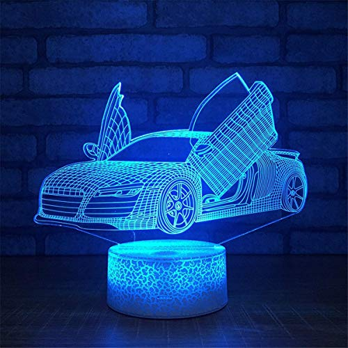 Kreative 3D Racing Auto Lampe Nacht Licht USB Power 7 Farben Amazing Optical Illusion 3D LED Lampe Formen Kinder Schlafzimmer Geburtstag Weihnachten Geschenke Power Led-lampe