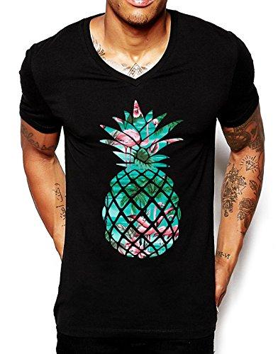 Jugendliches T-Shirt mit Flamingo-Ananas-Aufdruck, V-Ausschnitt Gr. Small, schwarz (T-shirt 2 Jugend-größe)