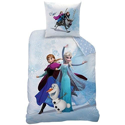Disney frozen 043893enjoy set copripiumino singolo e federa, cotone, blu, 135x 200+ 80x80cm