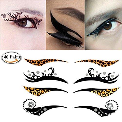 Eyeliner Augen Make-up Tattoo, Lidschatten Aufkleber, 40 Paare Lidschatten Aufkleber, CIDBEST® Temporäre Auge Tattoos, Modisch Spaß Temporäre Make-up Augen-Tätowierung