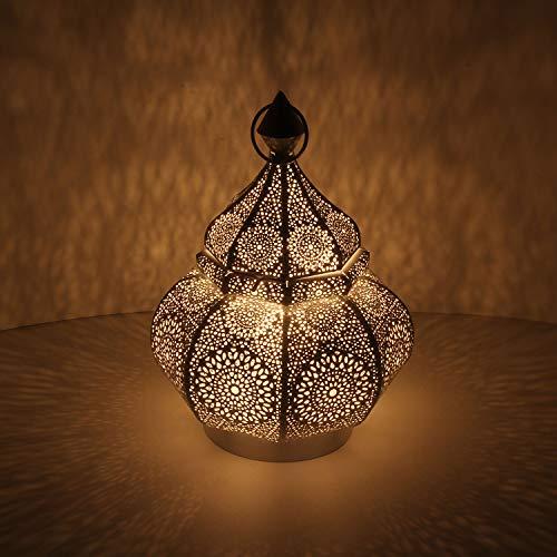 Orientalische Laterne aus Metall Alima weiss 30cm | Marokkanisches Windlicht Gartenlaterne | hängend oder stehend | Schöne Tischlaterne für Hochzeit Feier Dekoration Weihnachten Geschenk | LN2050