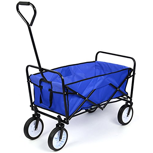 HOMFA Chariot de Transport Chariot de Jardin 83X53X63cm Charrette à Bras Chariot Transport Bricolage Pliable Remorque Pliante Poussette a 80kg (Bleu)