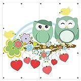 Wallario XXL Garten-Poster Outdoor-Poster - Bunte Eulen mit kleinen Vögeln auf dem Ast in Premiumqualität, für den Außeneinsatz geeignet