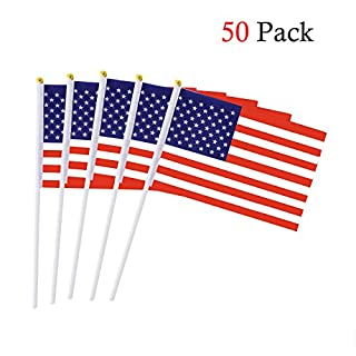American Stick Flag 5.5 x 8.3 Inch Small Hand Held Flag of 50 PCS Mini US Flag
