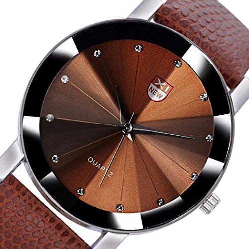 Man Watch, Casual Sports Quartz Watch - Leather Band Strap Watch - Fashion Stainless Steel Military Analog Luxury Wrist Watch (Kaffee)