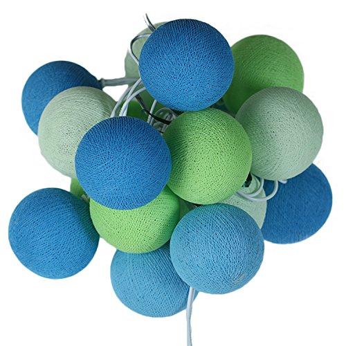 ART-CRAFT LED Stimmungs Textil-Lichterkette batteriebetrieben mit 20 handgefertigten Baumwollkugeln Leuchtfarbe grün blau weiß (Lichterketten Blau Und Grün)