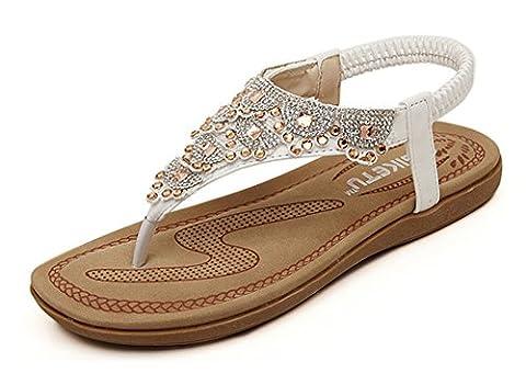 Minetom Damen Sandalen Sommer Flip Flops Böhmische Stil Flache Schuhe Strass T-Strap Sandals Flats Thong Strand Hausschuhe Weiß EU 37