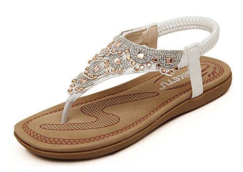 Minetom Damen Sandalen Sommer Flip Flops Böhmische Stil Flache Schuhe Strass T-Strap Sandals Flats Thong Strand Hausschuhe Weiß EU 40 (Thong Classic Natur)