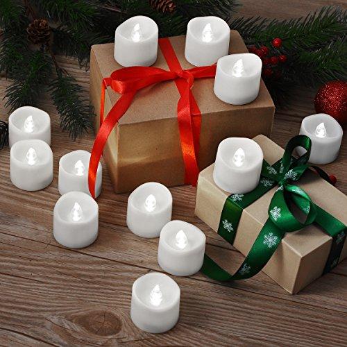AMIR LED Velas, 12LED sin llama velas, Navidad velas de té LED, eléctrica velas velas para Halloween, Navidad, fiesta, bar, boda (Color Blanco)