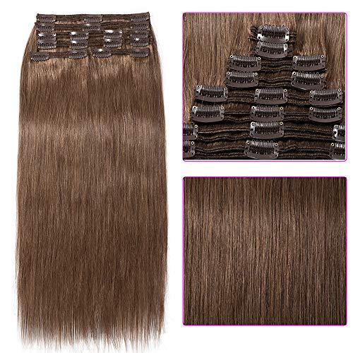Clip in Extensions Set 100% Remy Echthaar 8 Teilig Haarverlängerung dick Dopplet Tressen Clip-In Hair Extension (55cm-160g,#30 Licht Auburn)