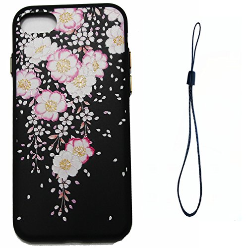iphone 8 plus Nero Cover, Custodia per iphone 7 plus 5.5, iphone 7 plus Silicone Cover, MoreChioce Varnish Clear Coating Moda Sollievo Relief Painting Fiore Colorato Modello Morbido Custodia Con Cint Ewha Begonia
