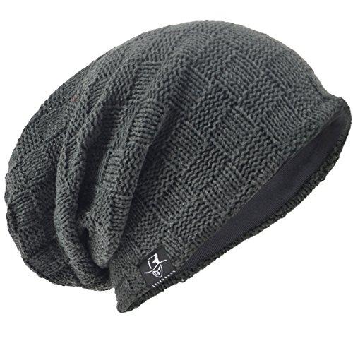 7259b460adb20 Men Oversize Beanie Slouch Skull Knit Large Baggy Cap Ski Hat B08  (Cecked-Grey