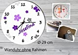 Kinder Wanduhr Kinderuhr Kinderzimmer Uhr mit Namen personalisiert laufruhig leise Blumen grau lila (29 cm)