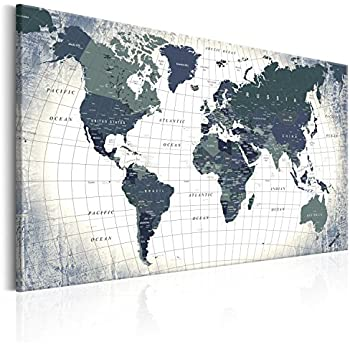 Lanakk black and white world map on cork board base high quality murando pinboard map 90x60 cm 354 by 236 in image printed on canvas with cork backing poster pin board world map white black k b 0011 p c gumiabroncs