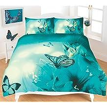 Lujo y moderno 3d mariposa edredón/edredón y funda de almohada juego de cama –