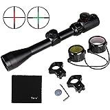 Tera Lunette de visée riflescope optique portée 3-9x40EG avec lumineux de réticule rouge et vert + support de montage ajustable pour fusil de chasse etc