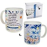 Pinkmarket - 1915006 TAZA de cerámica POEMA AMOR A PAPA de desayuno y café. Mug Cup de desayuno para leche, agua, zumo de frutas. DIA DEL PADRE