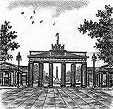 Einfarbige original Radierung Berlin, Brandenburger Tor von Falk als loses Blatt, Graphik, kein Kunstdruck, kein Leinwandbild