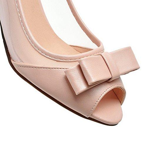 AgooLar Femme Ouverture Petite à Talon Correct Verni Couleur Unie Tire Chaussures Légeres Rose