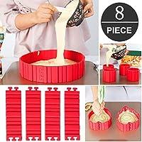 Anelli per torte, coppapasta tondi, Stampo Circolare in silicone Per Torte, torta Anello regolabile, 4 PCS Flexible Silicone DIY Torta Stampe di cottura - Progetta le tue torte qualsiasi forma (8 PCS)