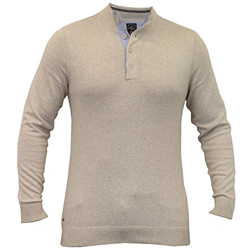 Hommes Pull Tricot Col Large Bouton Hiver Pull By Kensington Eastside Oatgrey - 1A8081