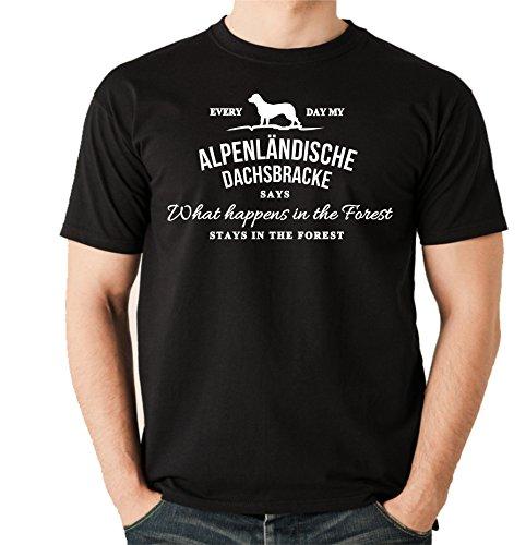 Siviwonder Vintage What Happen Logo ALPENLÄNDISCHE Dachsbracke Bracke Hund Hunde Jagd Jäger - Unisex T-Shirt Shirt Schwarz M -