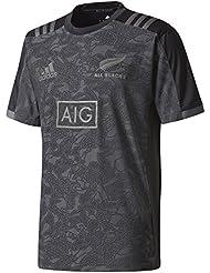 All Blacks Nlle Zélande 2017/18 - T-Shirt Entraînement de Rugby Terr - Noir/Granit