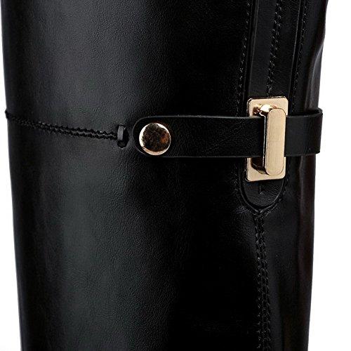 VogueZone009 Femme Zip Rond à Talon Haut Haut Élevé Bottes avec Décoration Métal Noir