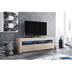 Alan - Meuble TV / Table Basse TV / Banc TV de Salon (160 cm, Aspect Bois Chêne de Sonoma avec l'éclairage LED bleue en option)