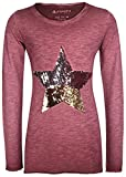 Blue Effect Cooles LA Shirt in gewaschenem Bordeaux mit Wendepailletten Glitzer Stern 5247 (128)
