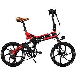 Rich Bit® RT 730 bicicleta eléctrica bicicleta plegable Ciclismo 250 W * 48V 8Ah 7Speed Equipada funda para teléfono cargador y soporte doble freno de disco mecánico Rojo