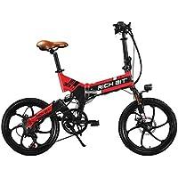 Rich Bit® RT730 Vélos électriques Assistance Vélos plaints 7 Vitesses Cadre pliant Chargeur Mobile Freins à disque 20'' Roue Shimano Dérailleur Roue intégrée Rouge