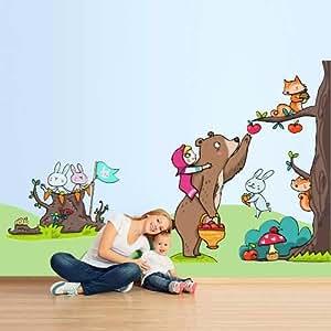 """Stickers muraux pour enfants imprimé sur papiers peints Wall Art """"Masha et Michka et le pommier"""" 120x90 cm"""
