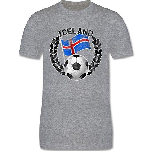 EM 2016 - Frankreich - Iceland Flagge & Fußball Vintage - Herren Premium T-Shirt Grau Meliert
