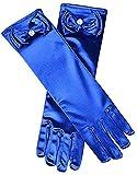 Guanto da ragazza elasticizzato in raso con fiocco lungo per ragazza, 29cm,Blu
