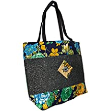 Women's Trendy Floral Design & Dual Zip Pocket Jute Canvas Handbag - Rich Attractive Navy Blue