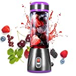 Portable Smoothie Blender,380ML Glass Personal Blender,20W Rechargeable USB Blender,Built-In 2 * 2000MAH Rechargeable...