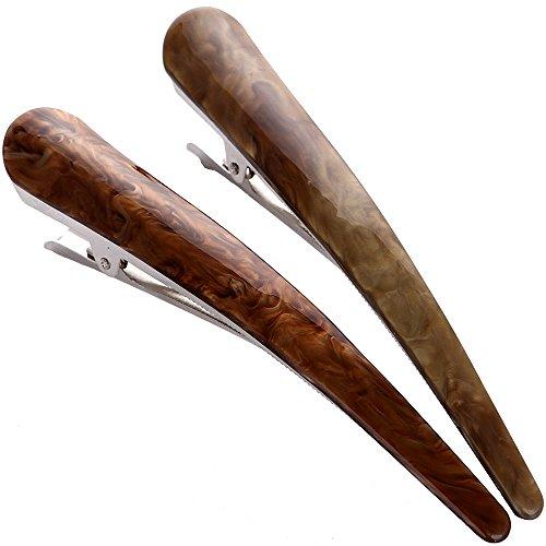 2PCS:Duck Teeth Bows Hair Clips Hair Grip Crocodile Accessories Hairpins Chic Styling Claw Hair Barrettes Makeover Pinch Clip - Classic