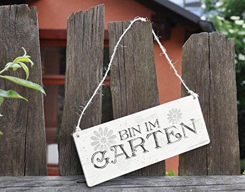 Klebefieber Holzschild Bin im Garten B x H: 25cm x 10cm