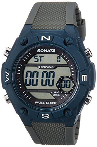 Sonata Superfibre Digital Grey Dial Men's Watch -NK77033PP01